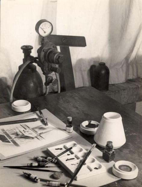 La historia del retoque: Set antiguo de fotografía