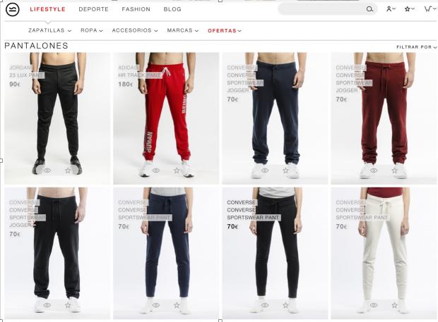 El retoque de fotografía de marca: pantalones