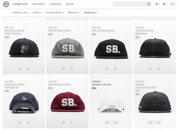 El retoque de fotografía de marca: gorras