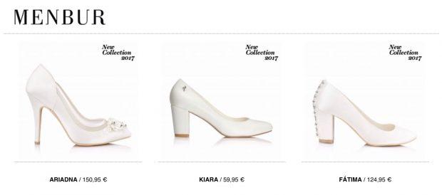 Zapatos de novia de tacón blancos marca Menbur
